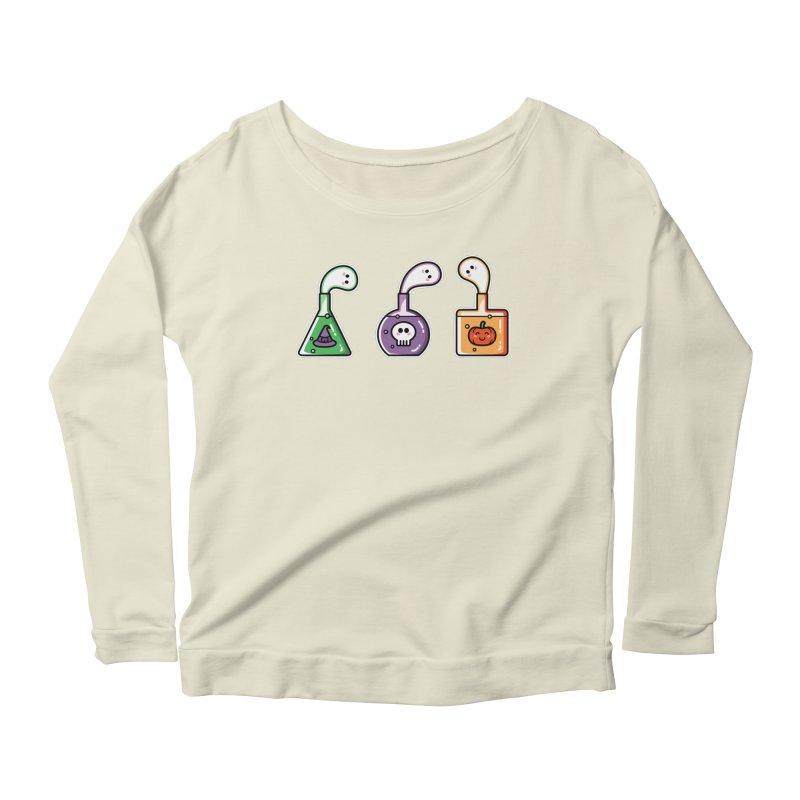 Cute Halloween Ghost Potions Women's Scoop Neck Longsleeve T-Shirt by Flaming Imp's Artist Shop