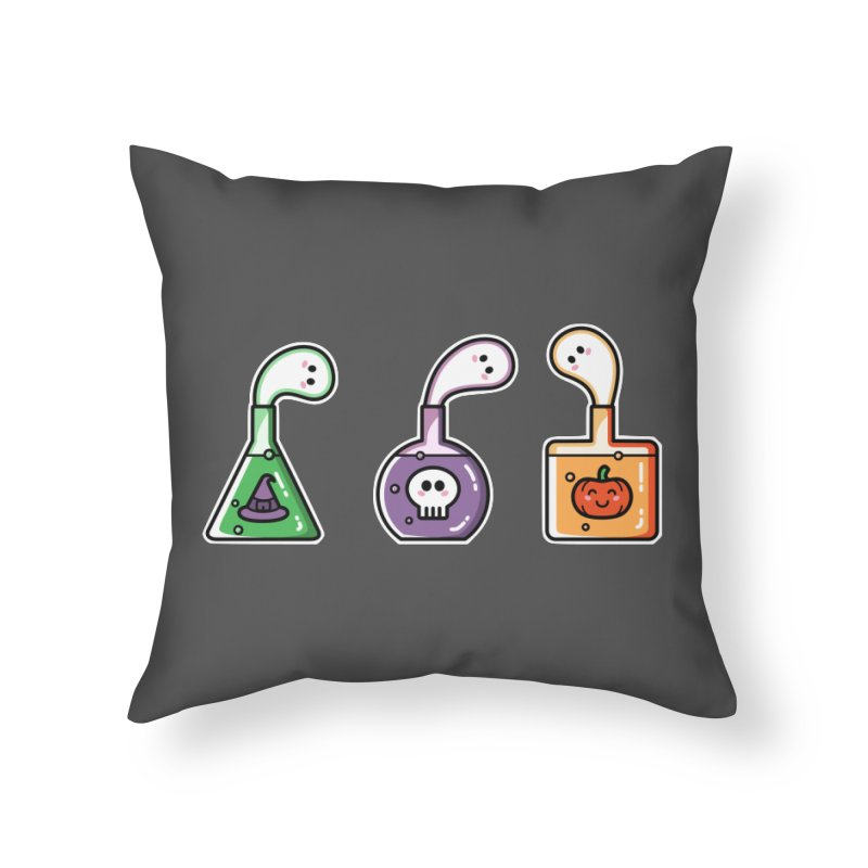 Cute Halloween Ghost Potions Home Throw Pillow by Flaming Imp's Artist Shop