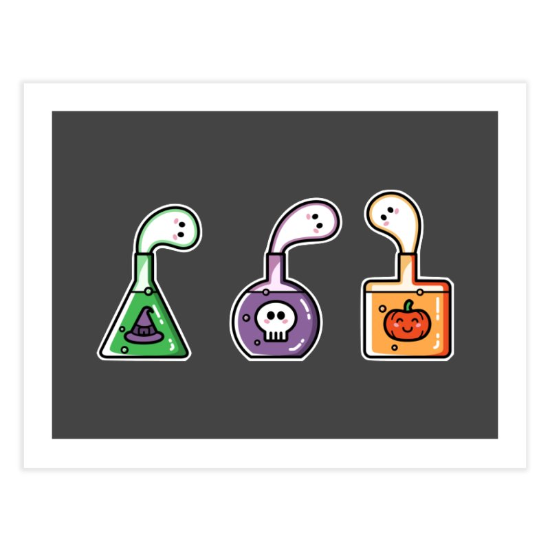 Cute Halloween Ghost Potions Home Fine Art Print by Flaming Imp's Artist Shop