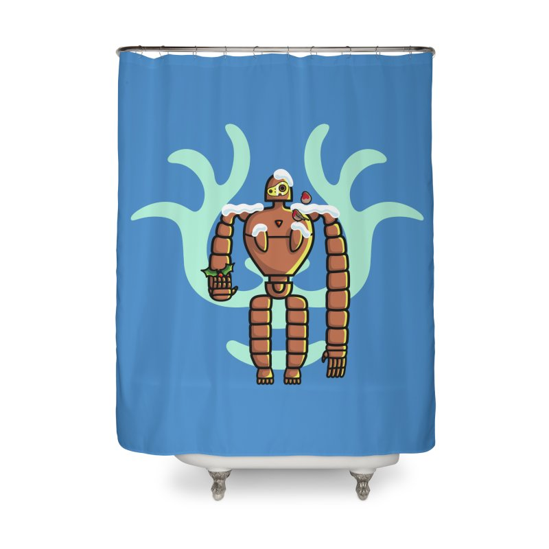 Christmas Laputa Robot Home Shower Curtain by Flaming Imp's Artist Shop