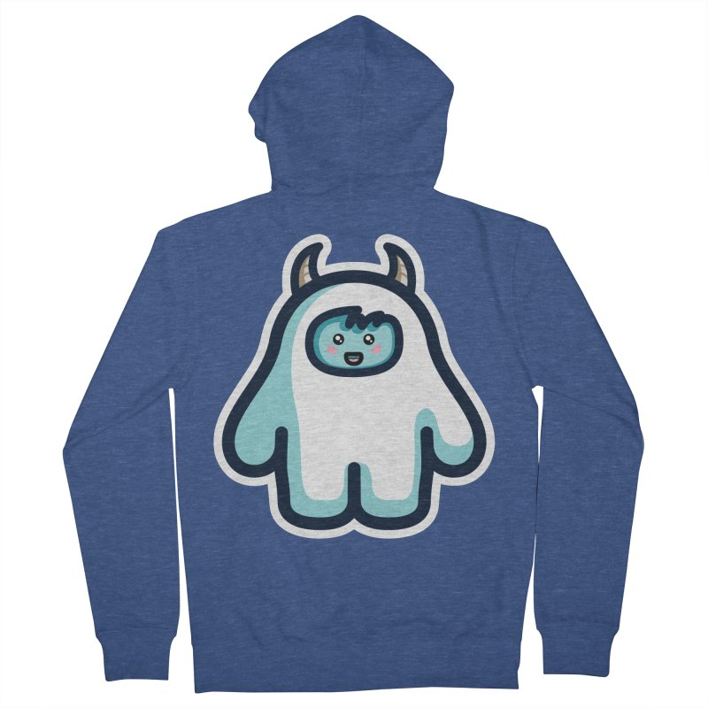 Kawaii Cute Abominable Snowman Men's French Terry Zip-Up Hoody by Flaming Imp's Artist Shop