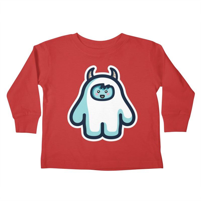 Kawaii Cute Abominable Snowman Kids Toddler Longsleeve T-Shirt by Flaming Imp's Artist Shop