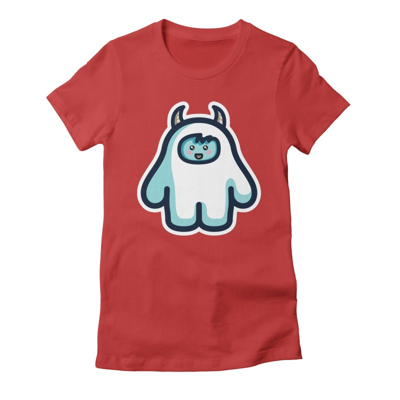 Kawaii Cute Abominable Snowman Women's Fitted T-Shirt by Flaming Imp's Artist Shop