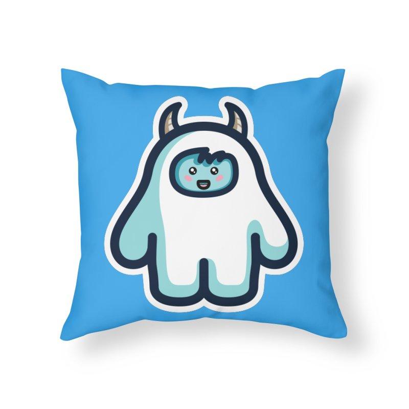 Kawaii Cute Abominable Snowman Home Throw Pillow by Flaming Imp's Artist Shop