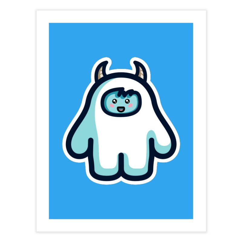 Kawaii Cute Abominable Snowman Home Fine Art Print by Flaming Imp's Artist Shop