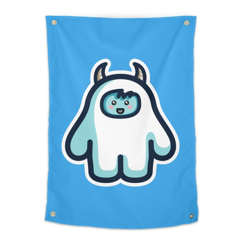 Kawaii Cute Abominable Snowman Home Tapestry by Flaming Imp's Artist Shop