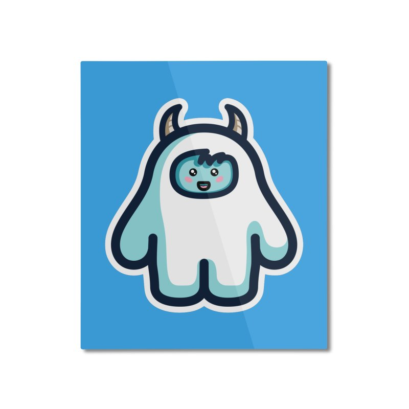 Kawaii Cute Abominable Snowman Home Mounted Aluminum Print by Flaming Imp's Artist Shop