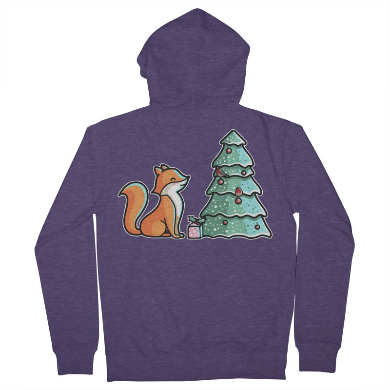 Cute Christmas Fox Men's French Terry Zip-Up Hoody by Flaming Imp's Artist Shop