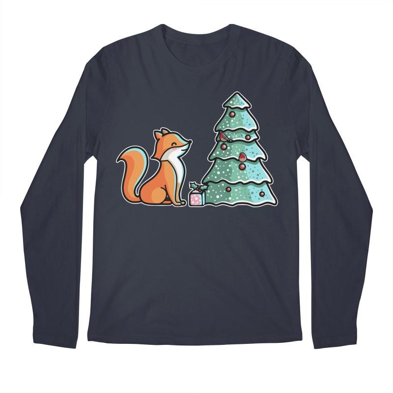 Cute Christmas Fox Men's Regular Longsleeve T-Shirt by Flaming Imp's Artist Shop