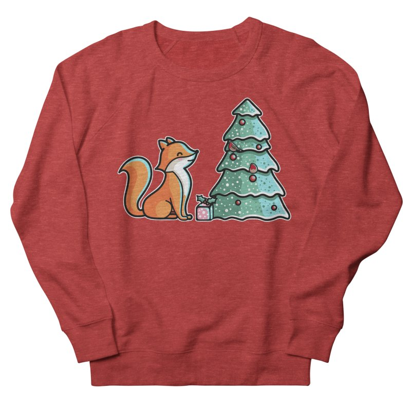 Cute Christmas Fox Men's French Terry Sweatshirt by Flaming Imp's Artist Shop