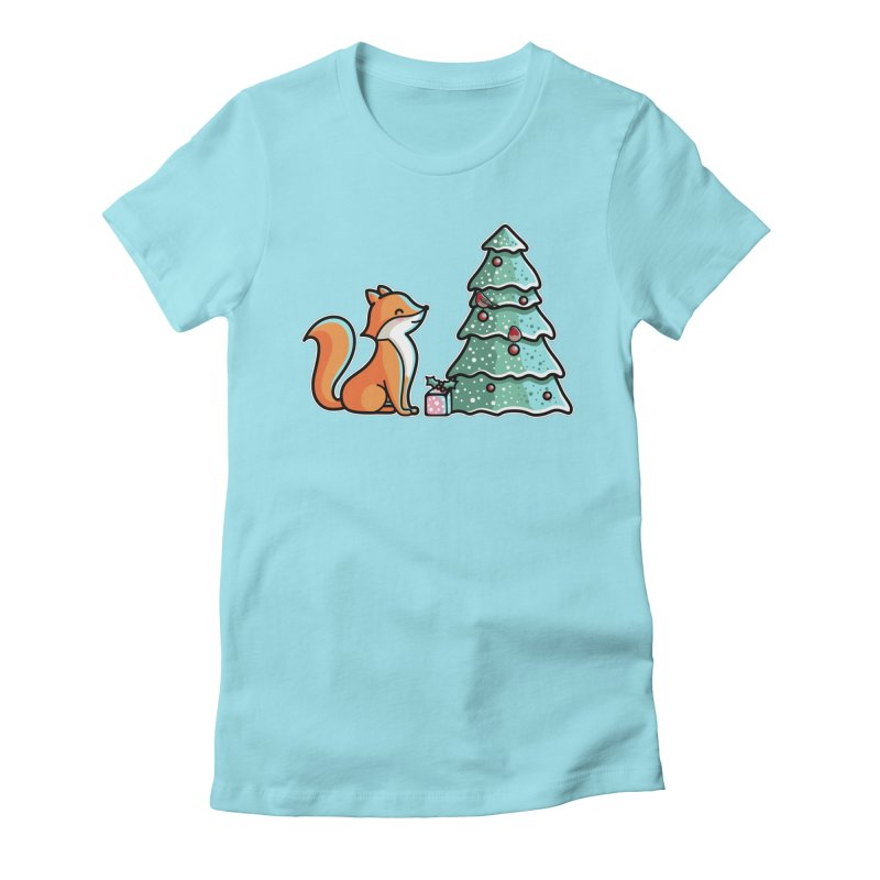 Cute Christmas Fox Women's Fitted T-Shirt by Flaming Imp's Artist Shop