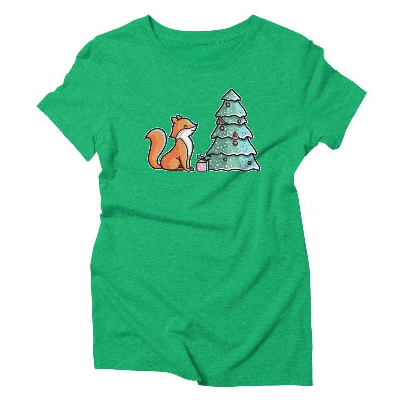 Cute Christmas Fox Women's Triblend T-Shirt by Flaming Imp's Artist Shop