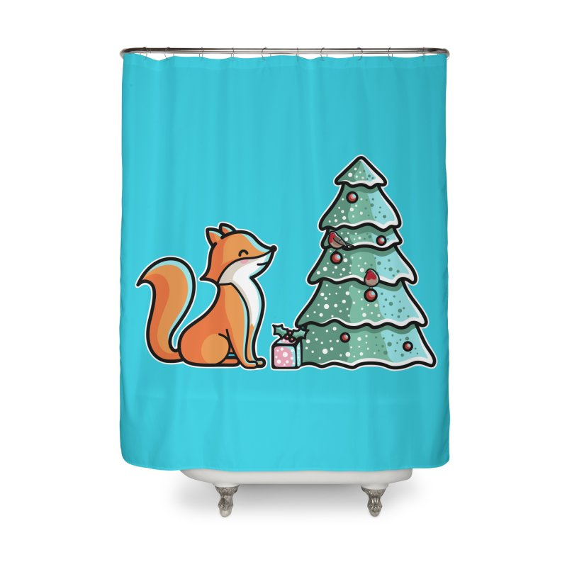 Cute Christmas Fox Home Shower Curtain by Flaming Imp's Artist Shop