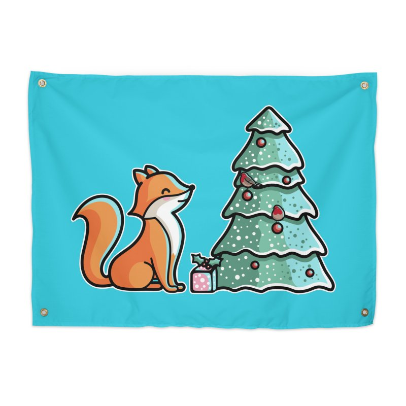 Cute Christmas Fox Home Tapestry by Flaming Imp's Artist Shop