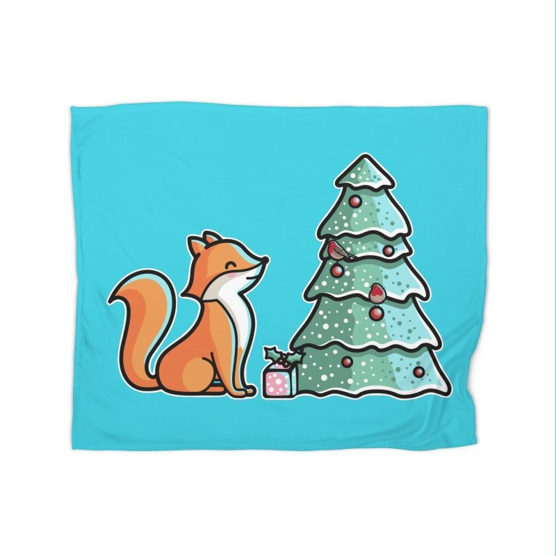 Cute Christmas Fox Home Blanket by Flaming Imp's Artist Shop