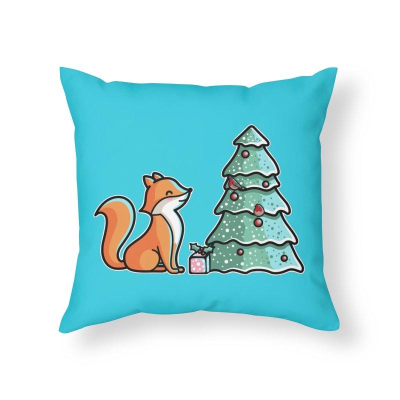 Cute Christmas Fox Home Throw Pillow by Flaming Imp's Artist Shop