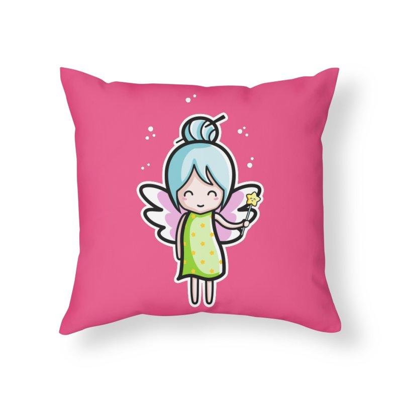 Kawaii Cute Fairy Home Throw Pillow by Flaming Imp's Artist Shop