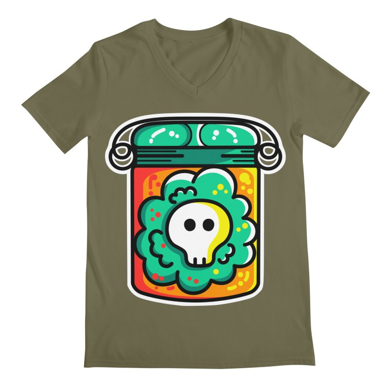 Cute Skull In A Jar Men's Regular V-Neck by Flaming Imp's Artist Shop