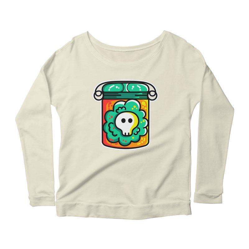 Cute Skull In A Jar Women's Scoop Neck Longsleeve T-Shirt by Flaming Imp's Artist Shop