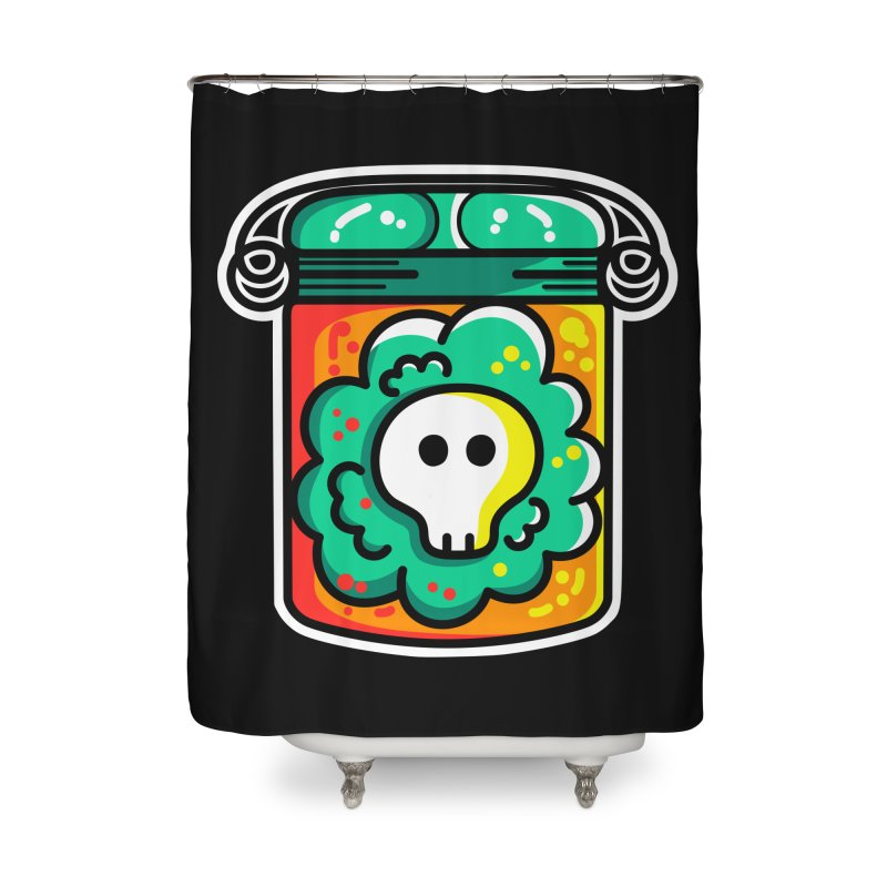 Cute Skull In A Jar Home Shower Curtain by Flaming Imp's Artist Shop