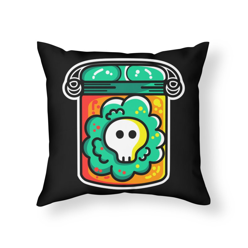 Cute Skull In A Jar Home Throw Pillow by Flaming Imp's Artist Shop