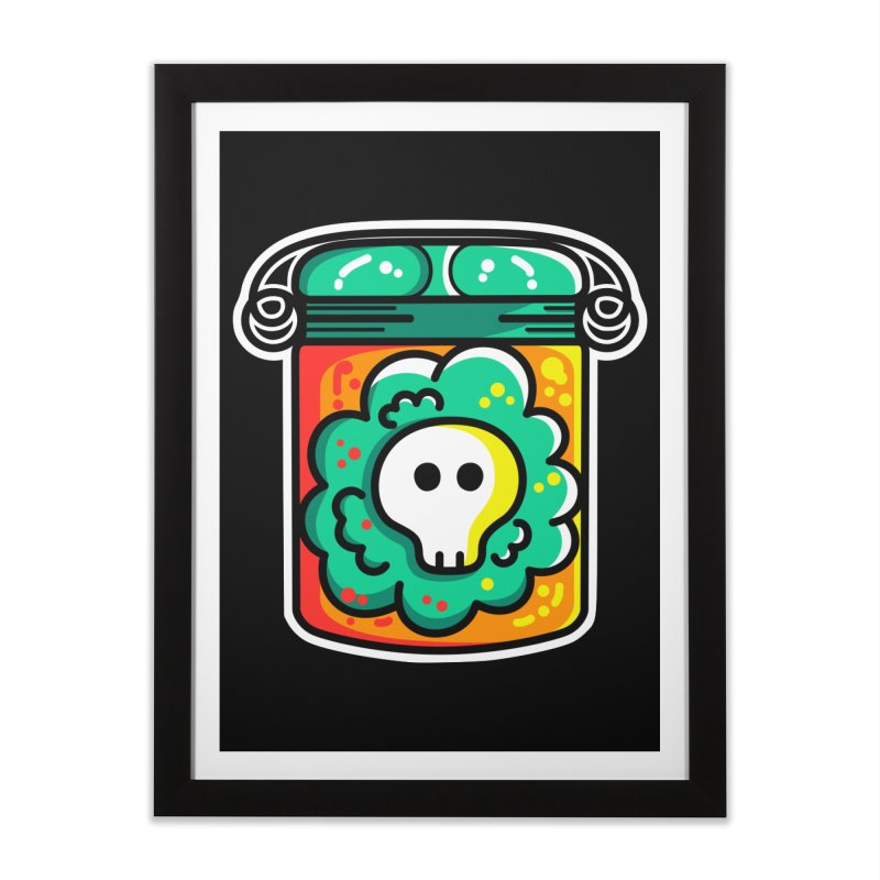 Cute Skull In A Jar Home Framed Fine Art Print by Flaming Imp's Artist Shop