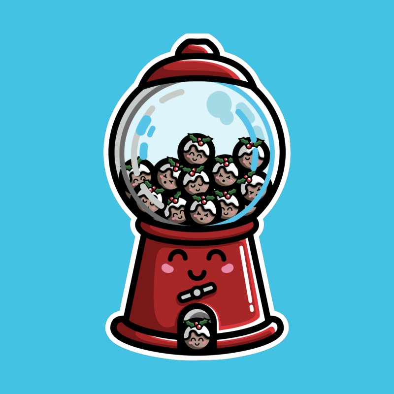 Kawaii Cute Christmas Pudding Gumball Machine by Flaming Imp's Artist Shop
