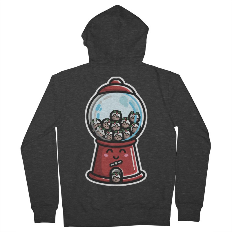 Kawaii Cute Christmas Pudding Gumball Machine Men's French Terry Zip-Up Hoody by Flaming Imp's Artist Shop