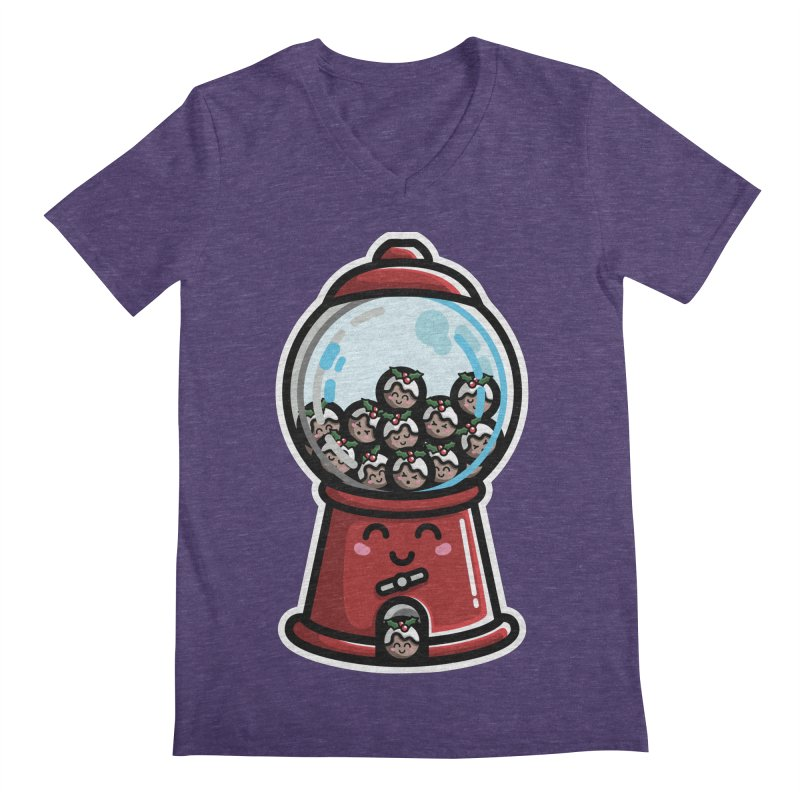 Kawaii Cute Christmas Pudding Gumball Machine Men's Regular V-Neck by Flaming Imp's Artist Shop