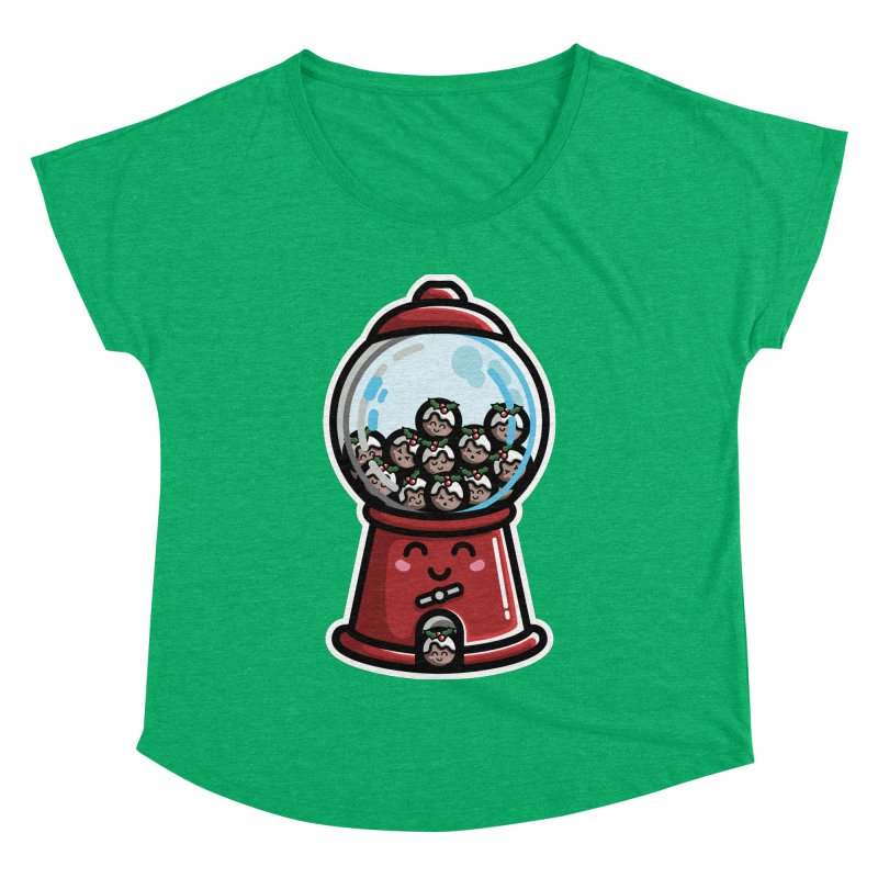 Kawaii Cute Christmas Pudding Gumball Machine Women's Dolman Scoop Neck by Flaming Imp's Artist Shop