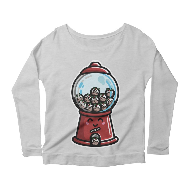 Kawaii Cute Christmas Pudding Gumball Machine Women's Scoop Neck Longsleeve T-Shirt by Flaming Imp's Artist Shop