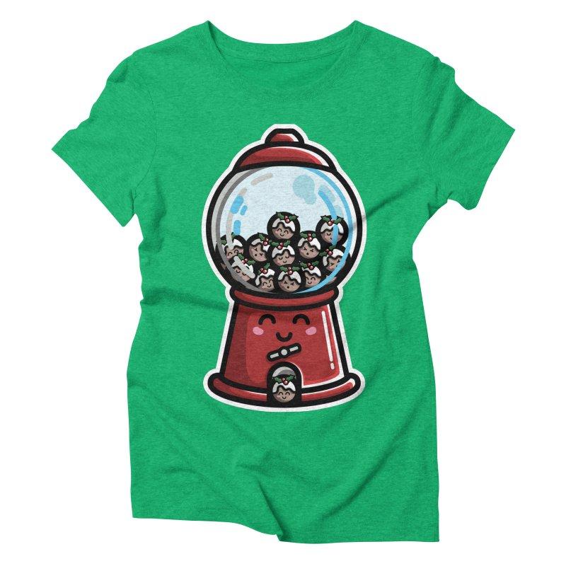 Kawaii Cute Christmas Pudding Gumball Machine Women's Triblend T-Shirt by Flaming Imp's Artist Shop