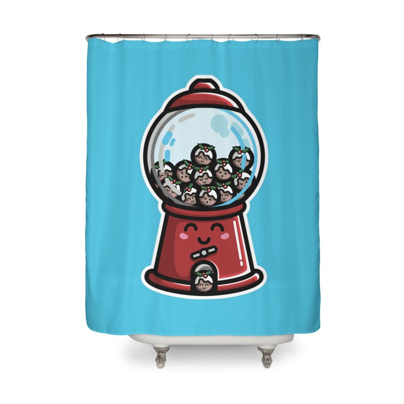 Kawaii Cute Christmas Pudding Gumball Machine Home Shower Curtain by Flaming Imp's Artist Shop