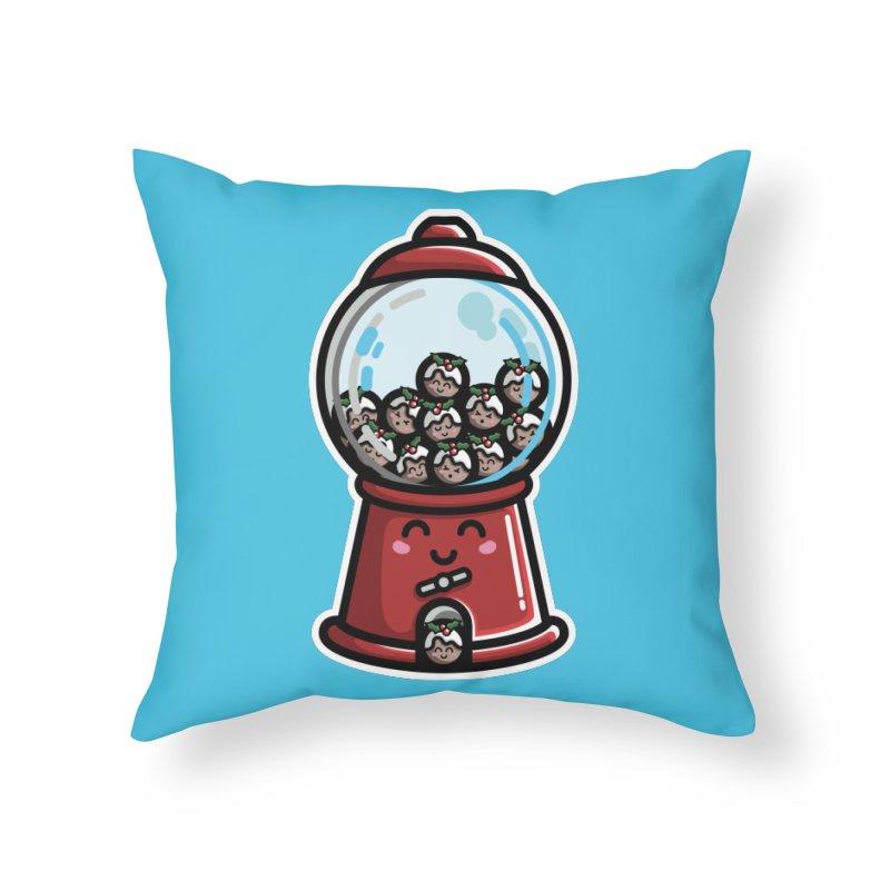 Kawaii Cute Christmas Pudding Gumball Machine Home Throw Pillow by Flaming Imp's Artist Shop