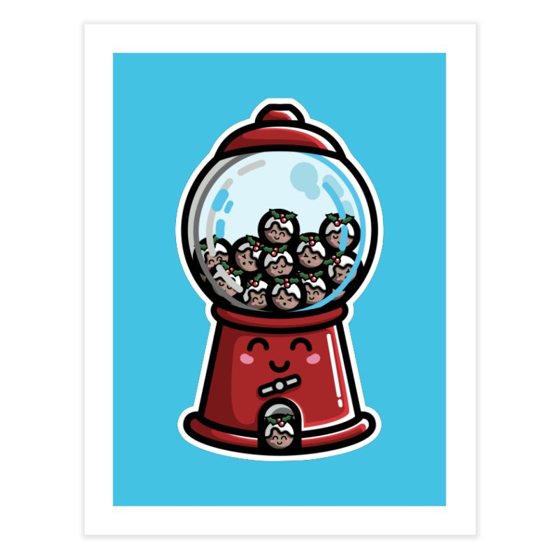 Kawaii Cute Christmas Pudding Gumball Machine Home Fine Art Print by Flaming Imp's Artist Shop