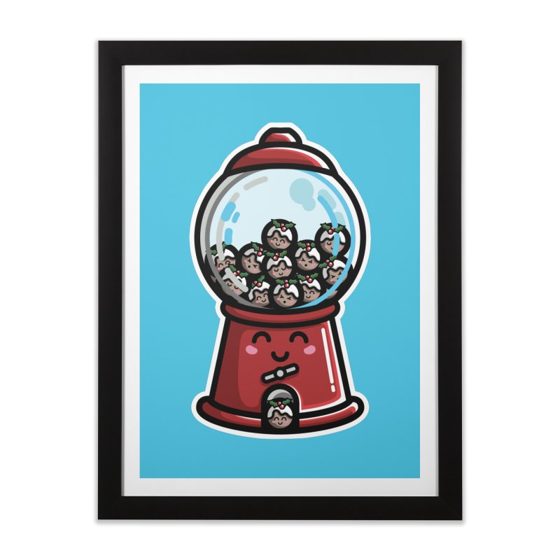 Kawaii Cute Christmas Pudding Gumball Machine Home Framed Fine Art Print by Flaming Imp's Artist Shop