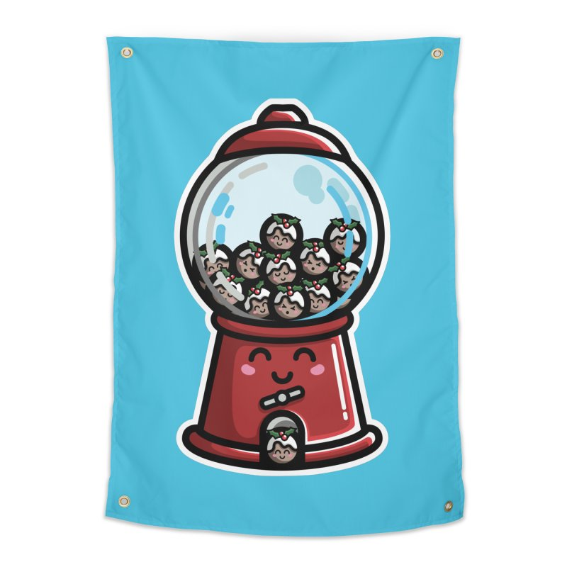 Kawaii Cute Christmas Pudding Gumball Machine Home Tapestry by Flaming Imp's Artist Shop