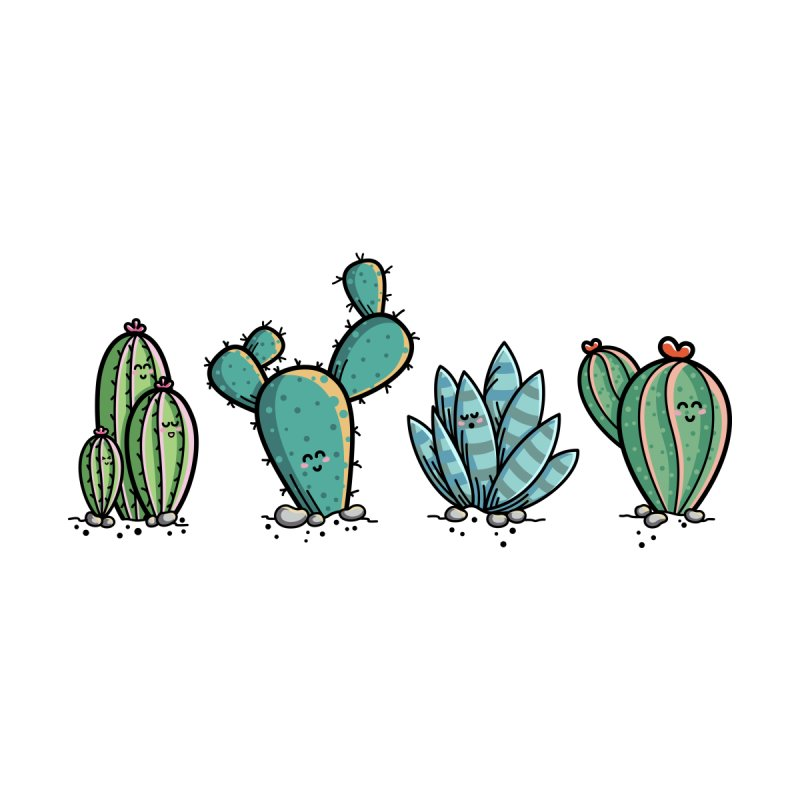 Kawaii Cute Cacti Desert Plants   by Flaming Imp's Artist Shop