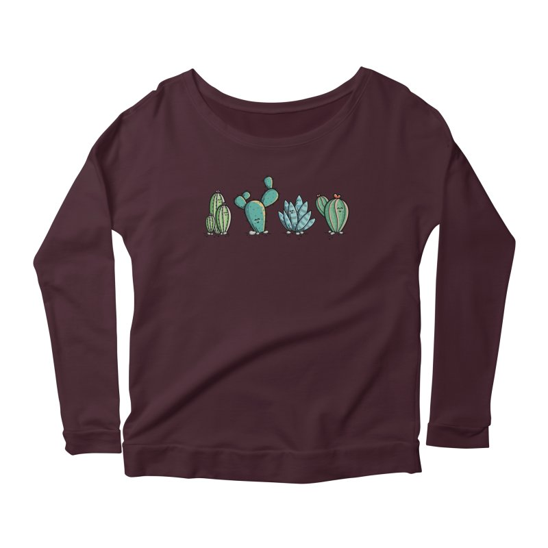 Kawaii Cute Cacti Desert Plants Women's Scoop Neck Longsleeve T-Shirt by Flaming Imp's Artist Shop