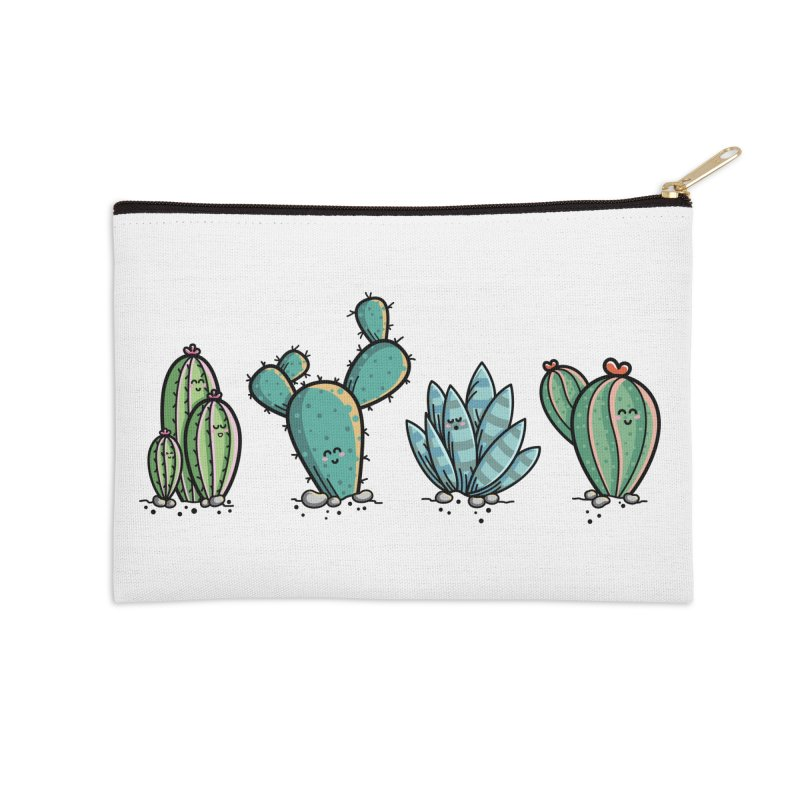 Kawaii Cute Cacti Desert Plants Accessories Zip Pouch by Flaming Imp's Artist Shop