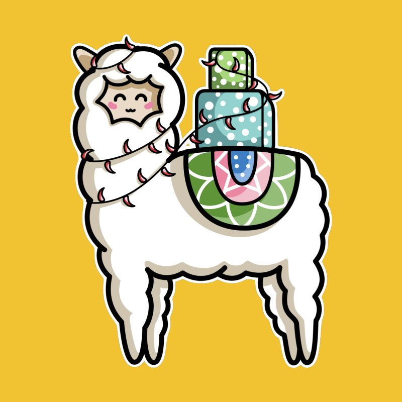 Kawaii Cute Gift Carrying Llama by Flaming Imp's Artist Shop