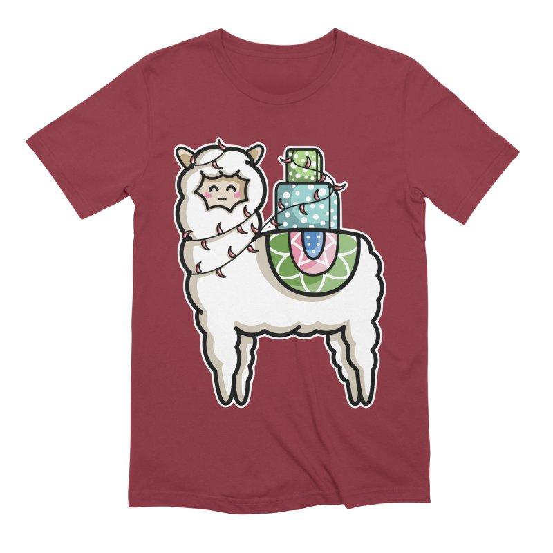 Kawaii Cute Gift Carrying Llama Men's Extra Soft T-Shirt by Flaming Imp's Artist Shop