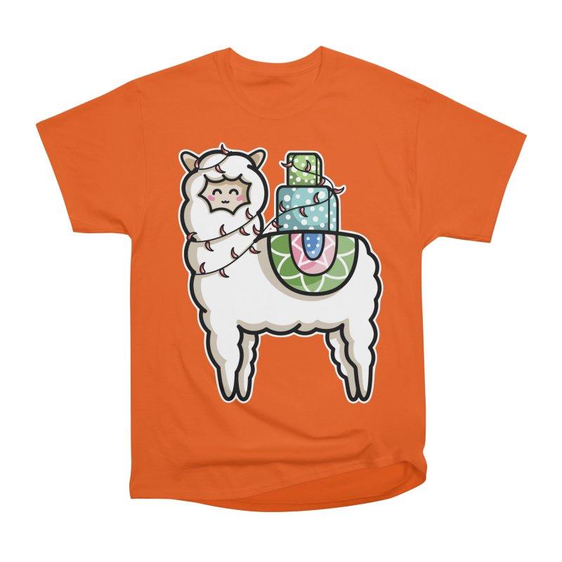 Kawaii Cute Gift Carrying Llama Women's Heavyweight Unisex T-Shirt by Flaming Imp's Artist Shop