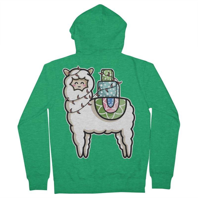 Kawaii Cute Gift Carrying Llama Men's French Terry Zip-Up Hoody by Flaming Imp's Artist Shop