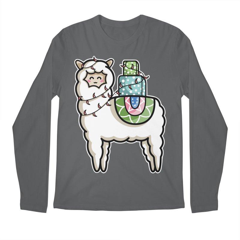 Kawaii Cute Gift Carrying Llama Men's Regular Longsleeve T-Shirt by Flaming Imp's Artist Shop