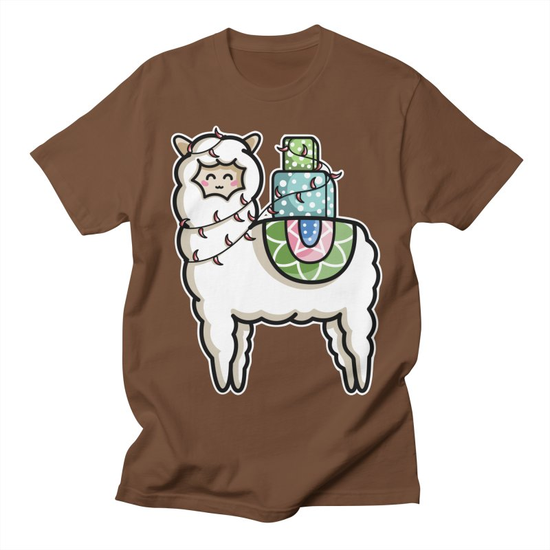Kawaii Cute Gift Carrying Llama Women's Regular Unisex T-Shirt by Flaming Imp's Artist Shop