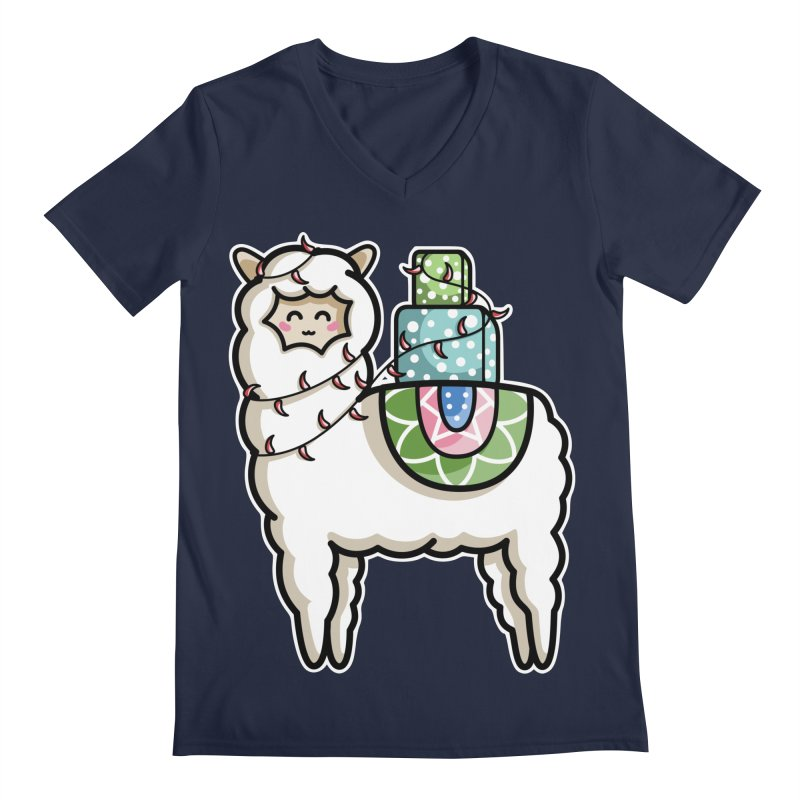 Kawaii Cute Gift Carrying Llama Men's Regular V-Neck by Flaming Imp's Artist Shop
