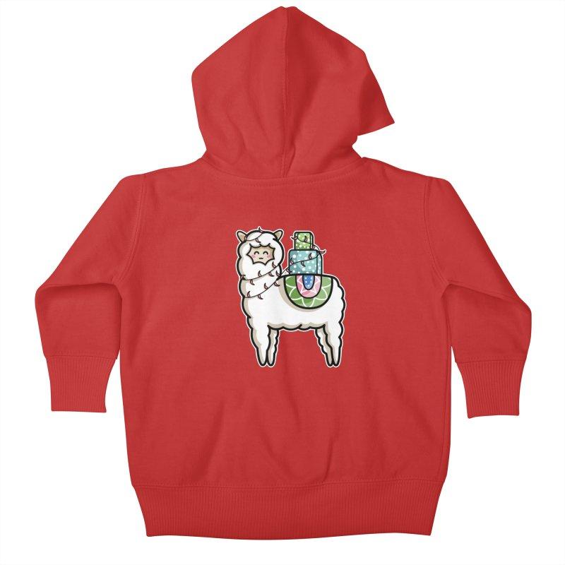 Kawaii Cute Gift Carrying Llama Kids Baby Zip-Up Hoody by Flaming Imp's Artist Shop