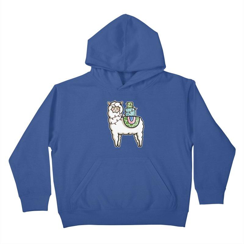 Kawaii Cute Gift Carrying Llama Kids Pullover Hoody by Flaming Imp's Artist Shop