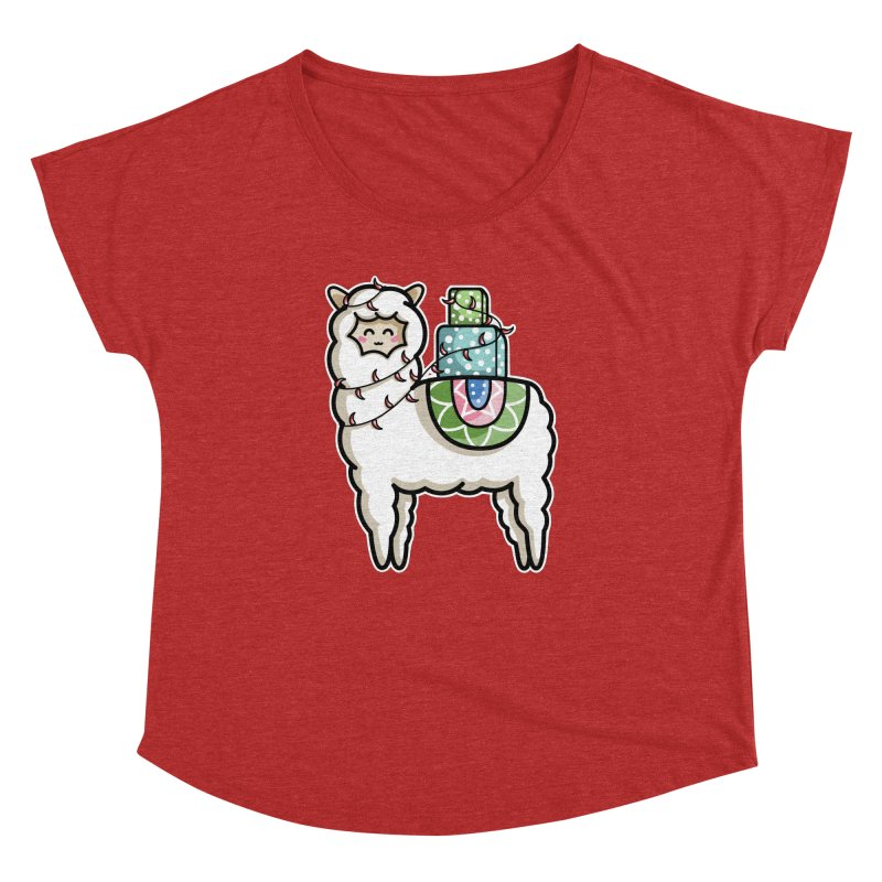 Kawaii Cute Gift Carrying Llama Women's Dolman Scoop Neck by Flaming Imp's Artist Shop